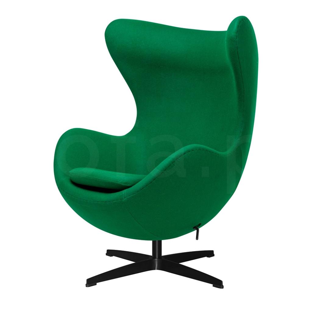 Fotel EGG CLASSIC BLACK zielony.75 - wełna, podstawa czarna