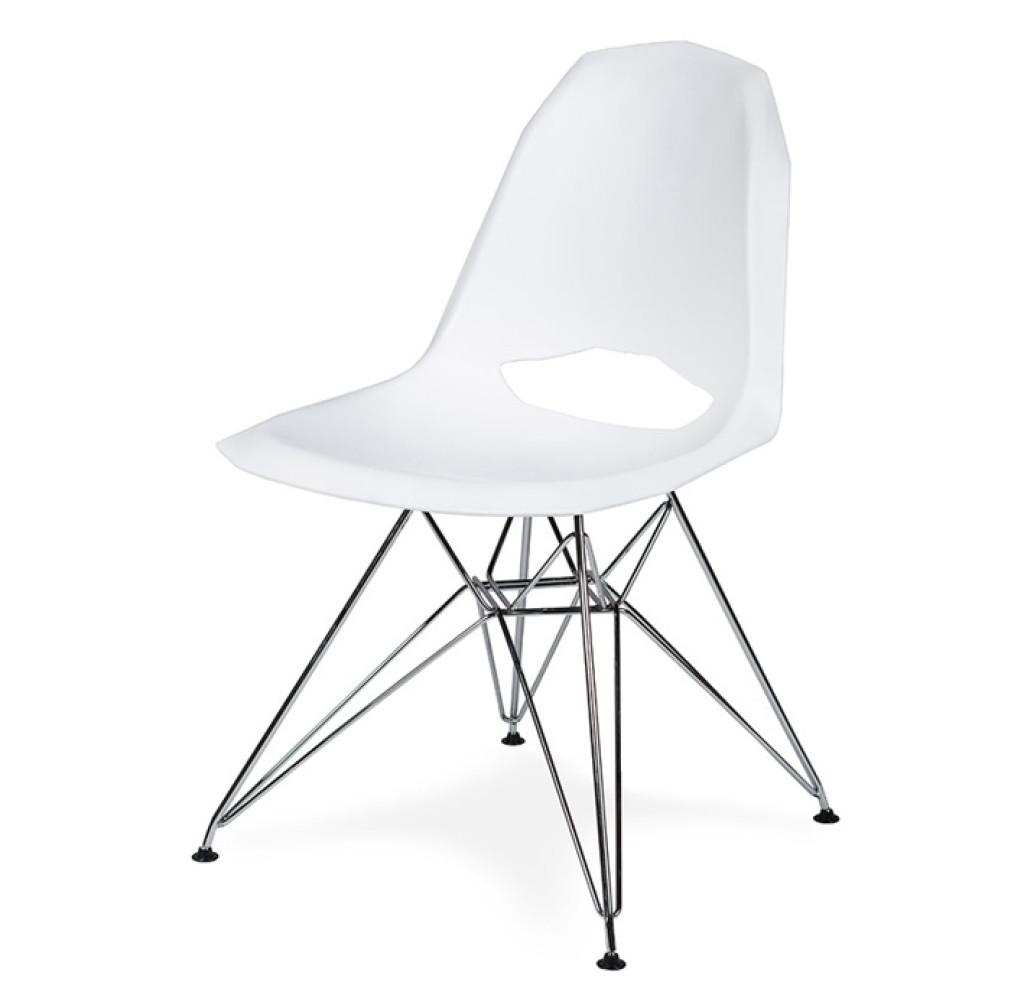Krzesło GULAR DSR białe - polipropylen, podstawa chromowana