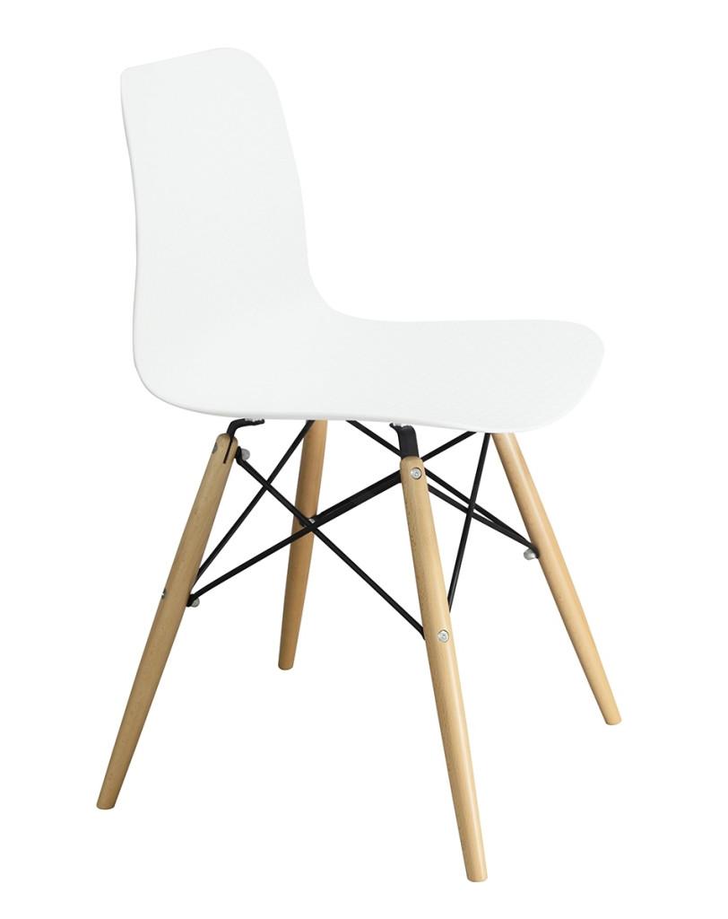 Krzesło KRADO DSW PREMIUM białe - polipropylen, podstawa bukowa