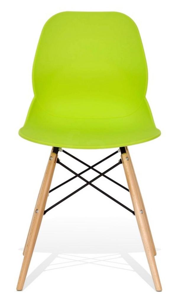 Krzesło LEAF DSW PREMIUM zielone - polipropylen, podstawa bukowa