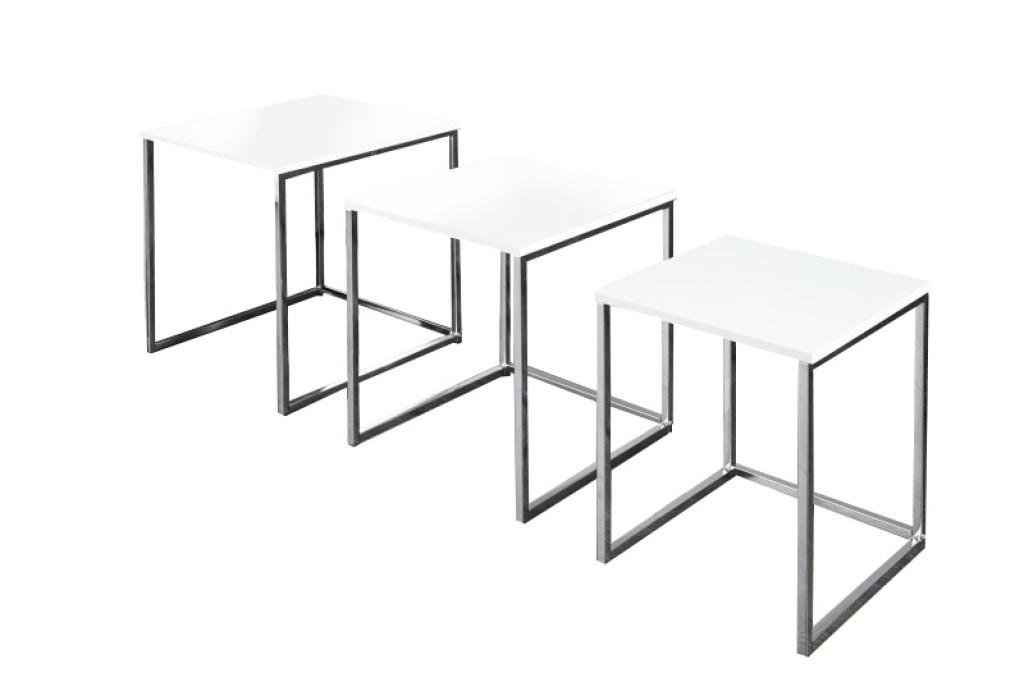 Zestaw stolików TRIO SLIM białe - podstawa chromowana