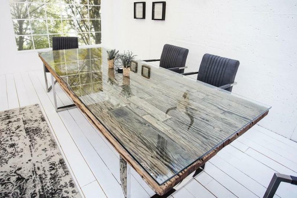 Stół EUPHORIA BARRACUDA GLASS 180  - blat lite drewno tekowe, metalowa podstawa, szklana nakładka