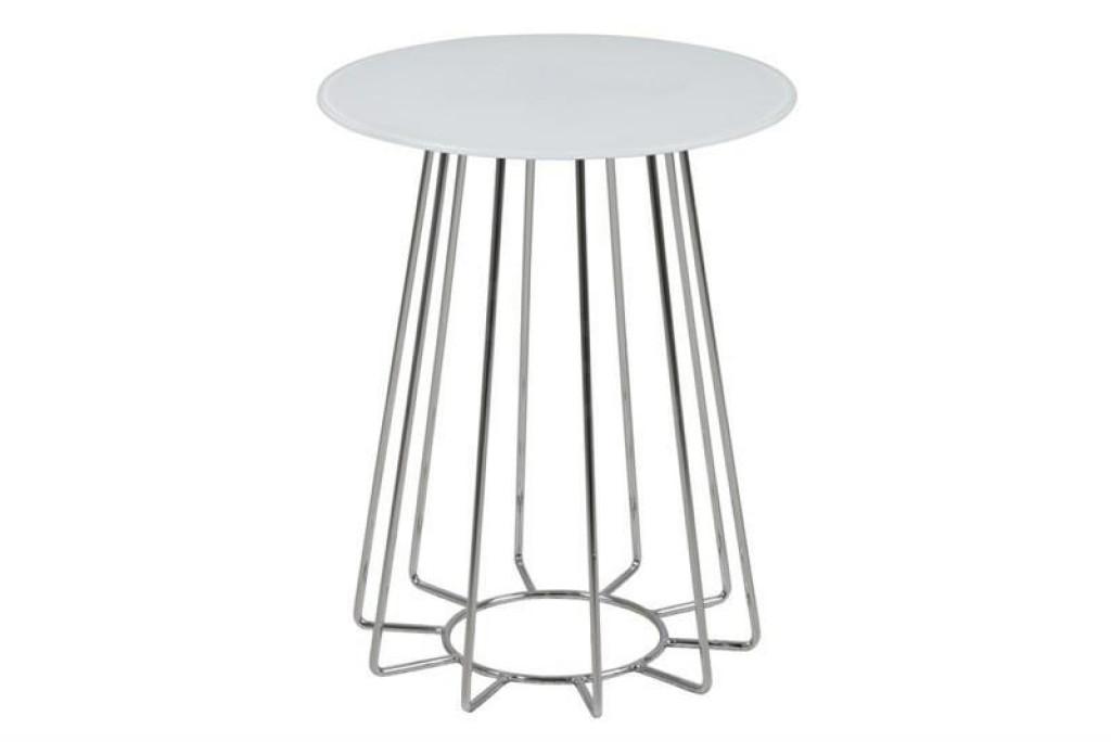 ACTONA stolik kawowy CASIA biały - szkło, chromowana podstawa