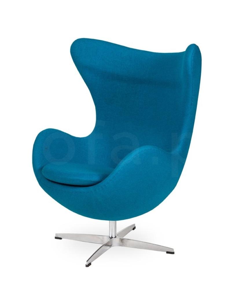 Fotel EGG CLASSIC ciemny turkus.16 - wełna, podstawa chromowana