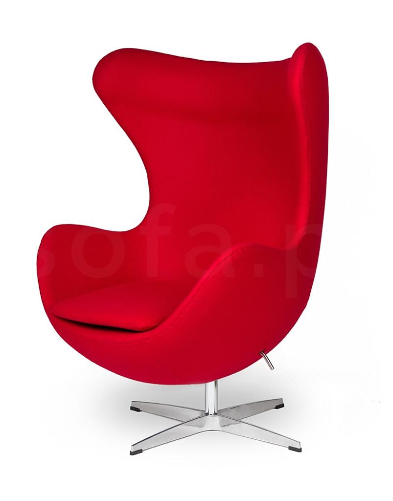 Fotel EGG CLASSIC czerwony.17 - wełna, podstawa chromowana