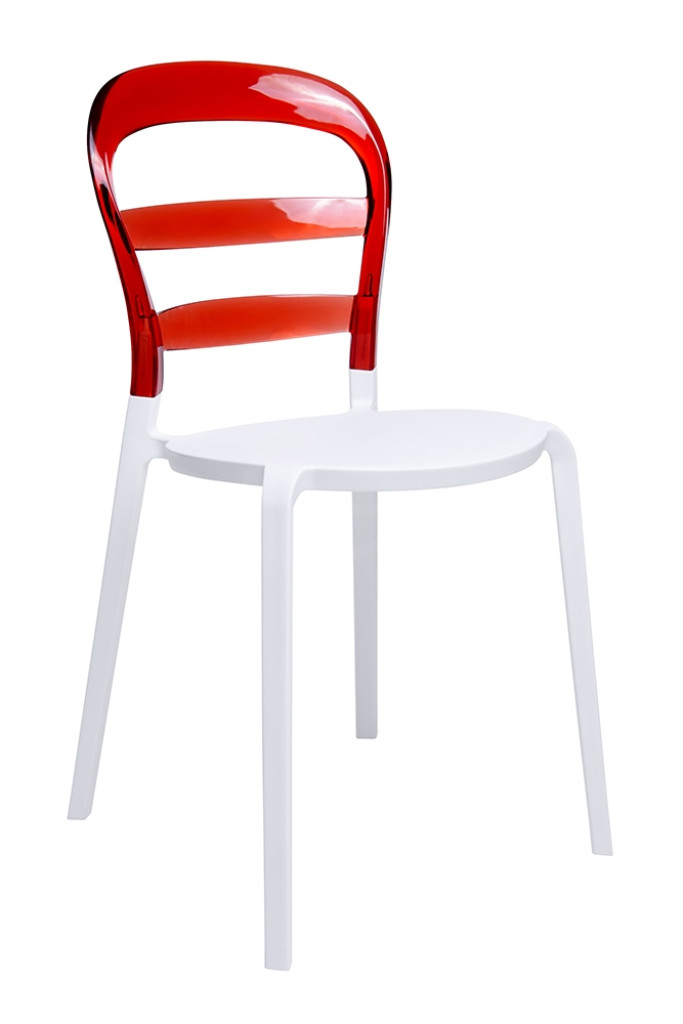 Krzesło CARMEN czerwone - oparcie poliwęglan