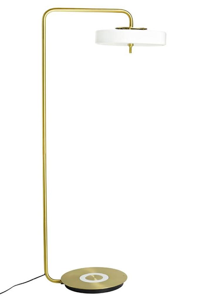 Lampa podłogowa ARTE FLOOR biało-złota - aluminium, szkło