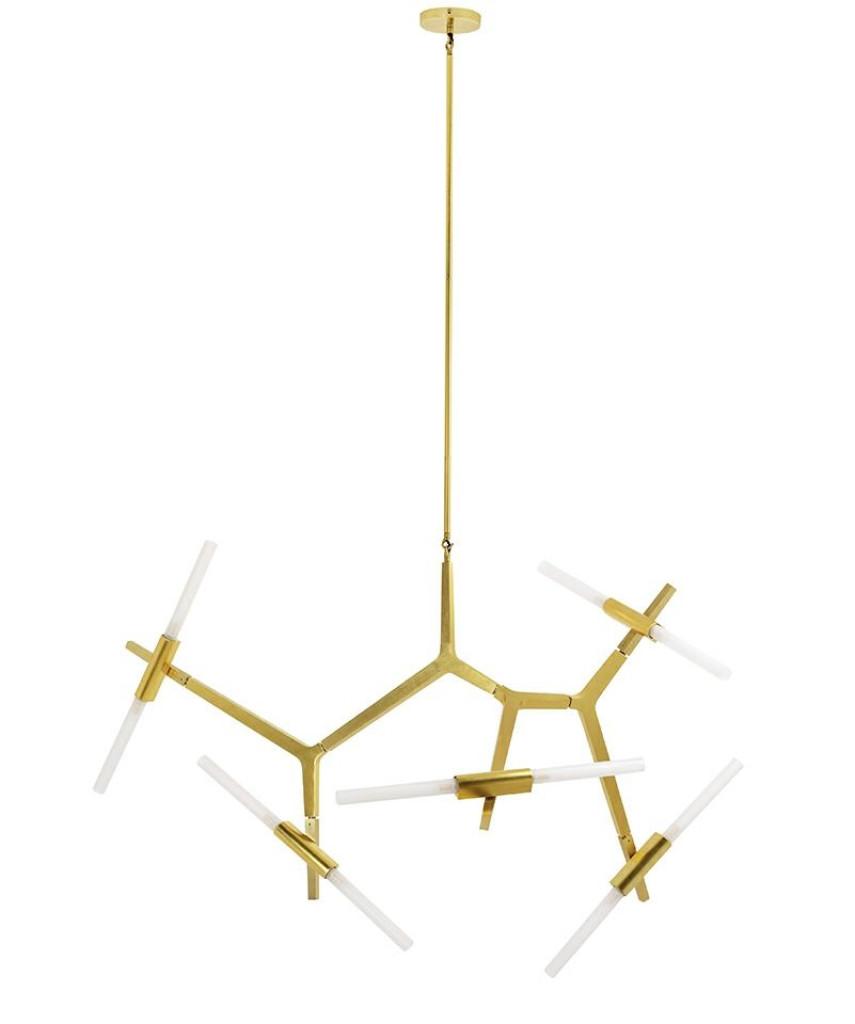 Lampa wisząca CANDELABR 10 złota - aluminium, szkło