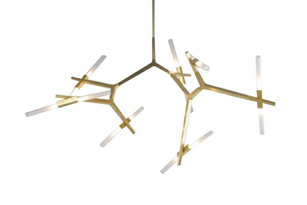 Lampa wisząca CANDELABR 14 złota - aluminium, szkło