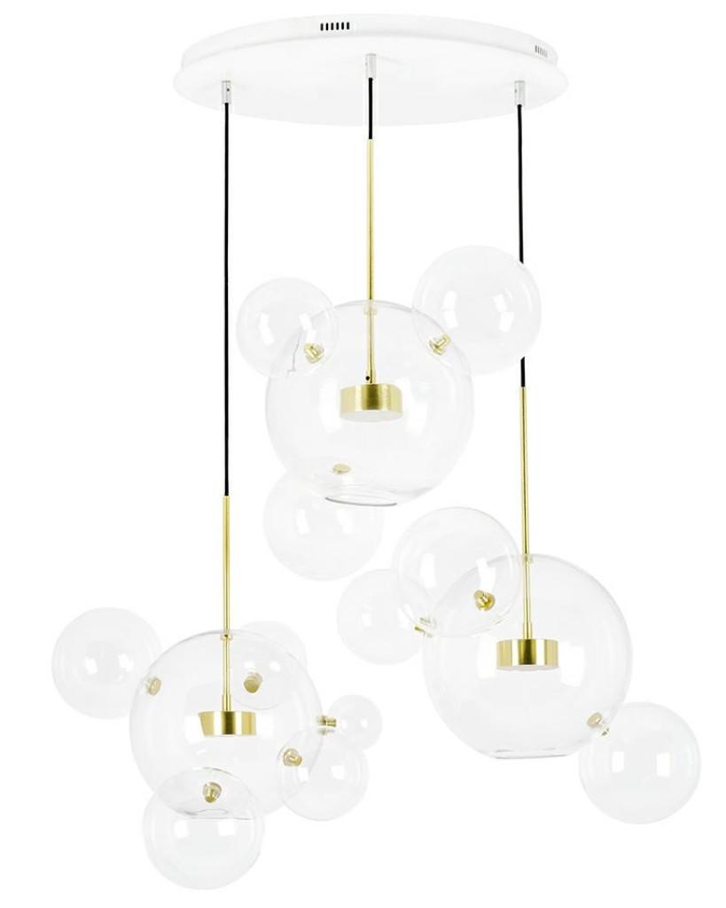 Lampa wisząca CAPRI DISC 3 złota - LED, aluminium, szkło