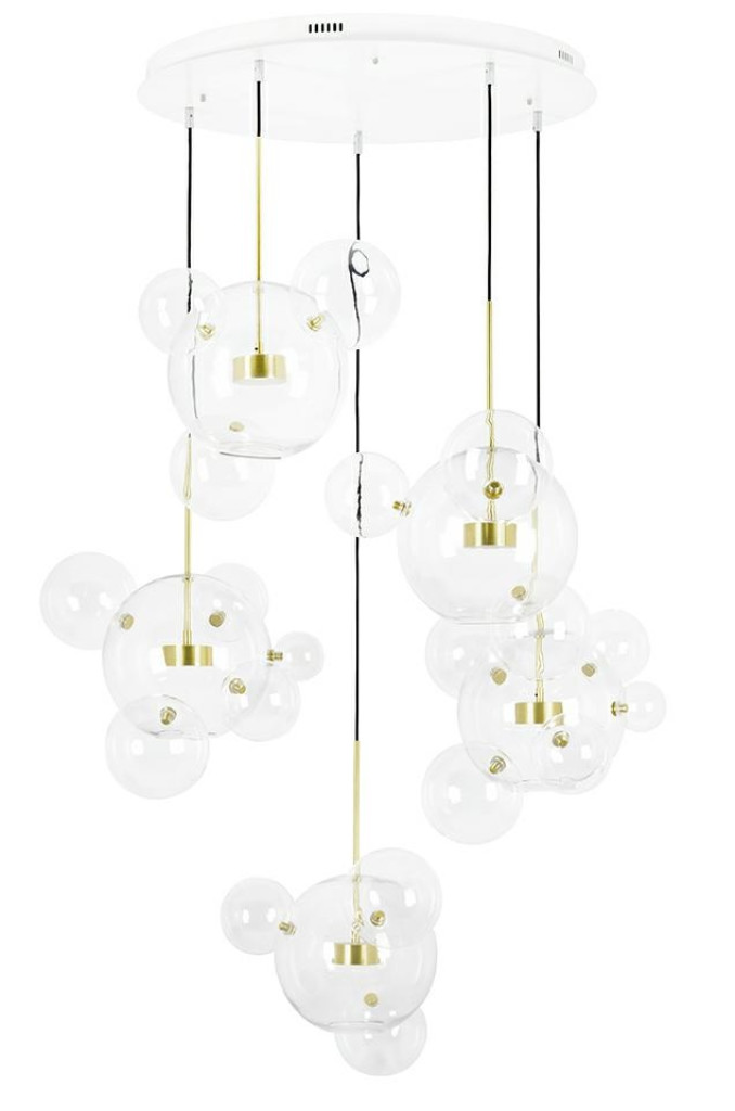 Lampa wisząca CAPRI DISC 5 złota - LED, aluminium, szkło