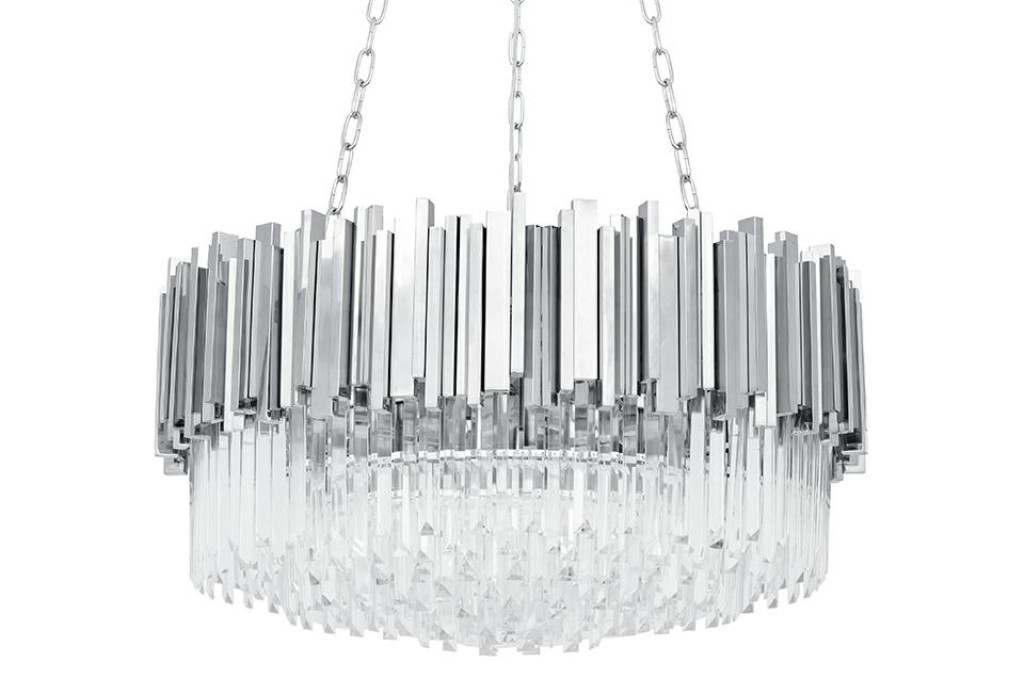 Lampa wisząca IMPERIAL SILVER 80 - LED, stal, kryształ