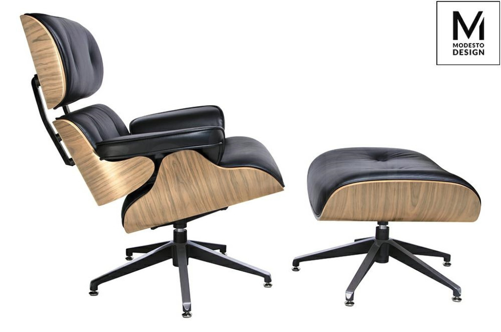 MODESTO fotel LOUNGE z podnóżkiem czarny - sklejka jesion, ekoskóra