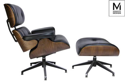 MODESTO fotel LOUNGE z podnóżkiem czarny - sklejka orzech, skóra ekologiczna