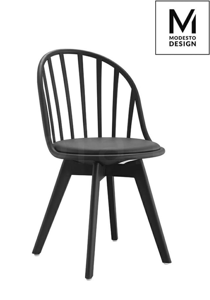 MODESTO krzesło ALBERT czarne - polipropylen, ekoskóra, podstawa czarna