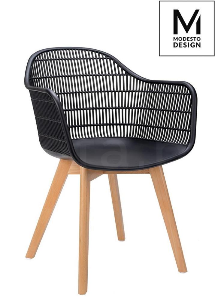 MODESTO krzesło BASKET ARM WOOD czarne - polipropylen, nogi jesionowe