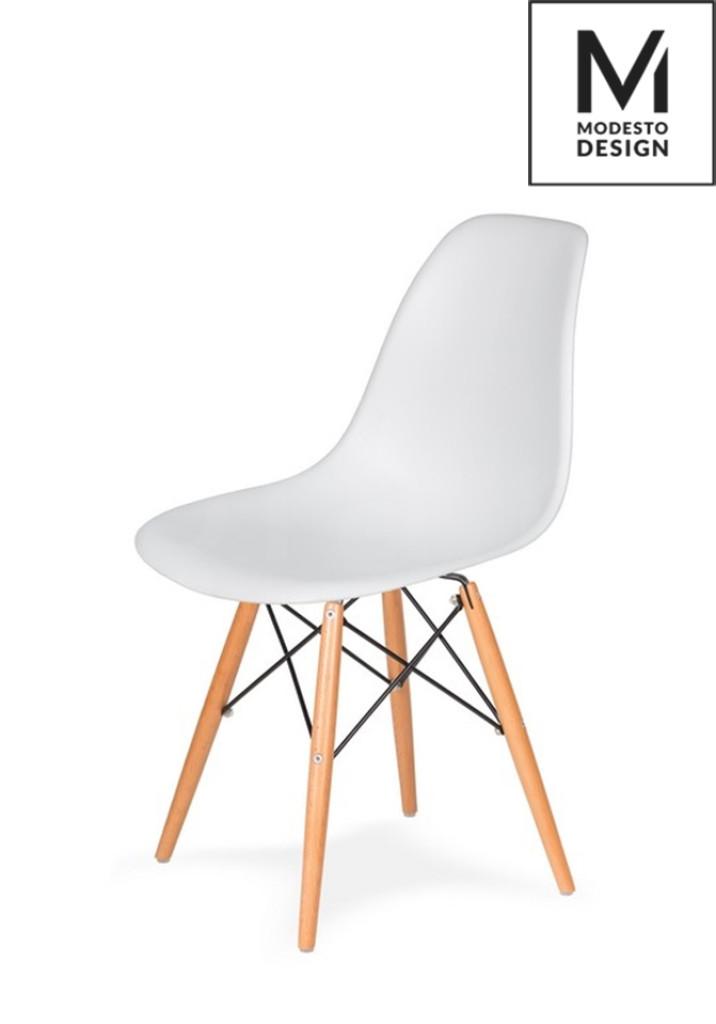 MODESTO krzesło DSW białe - podstawa bukowa