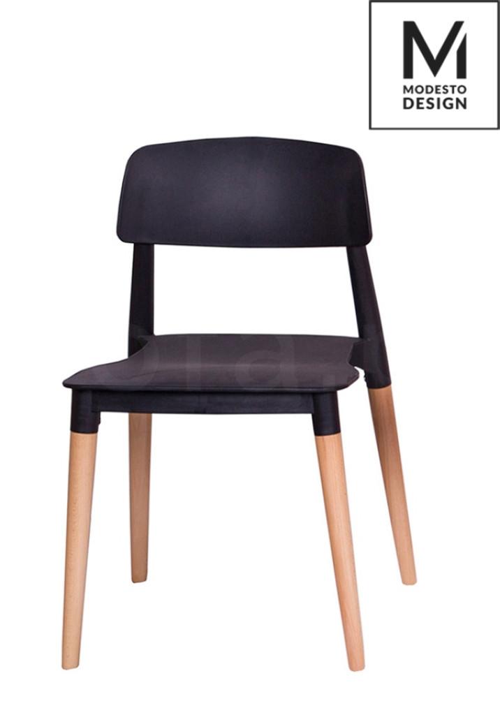 MODESTO krzesło ECCO czarne - polipropylen, podstawa bukowa