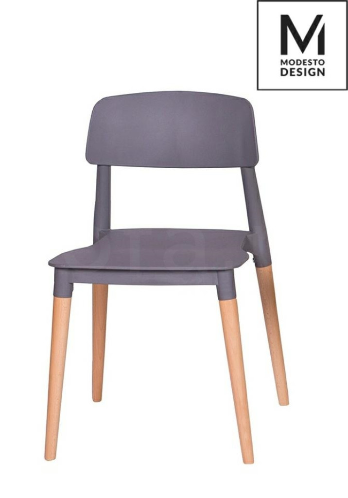 MODESTO krzesło ECCO szare - polipropylen, podstawa bukowa