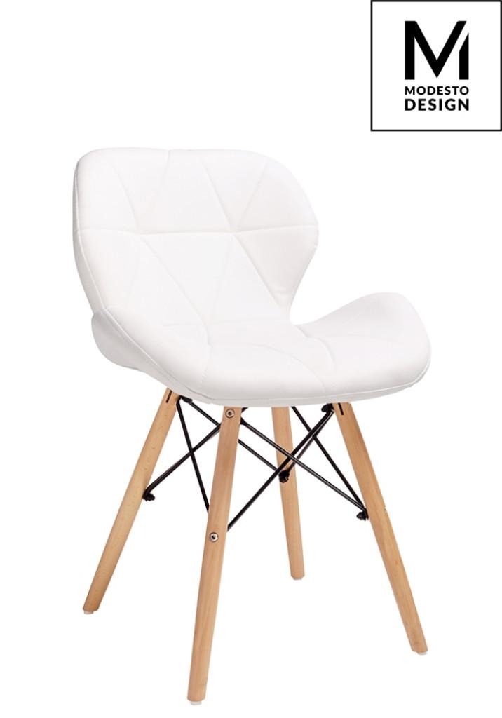 MODESTO krzesło KLIPP białe - ekoskóra, podstawa bukowa