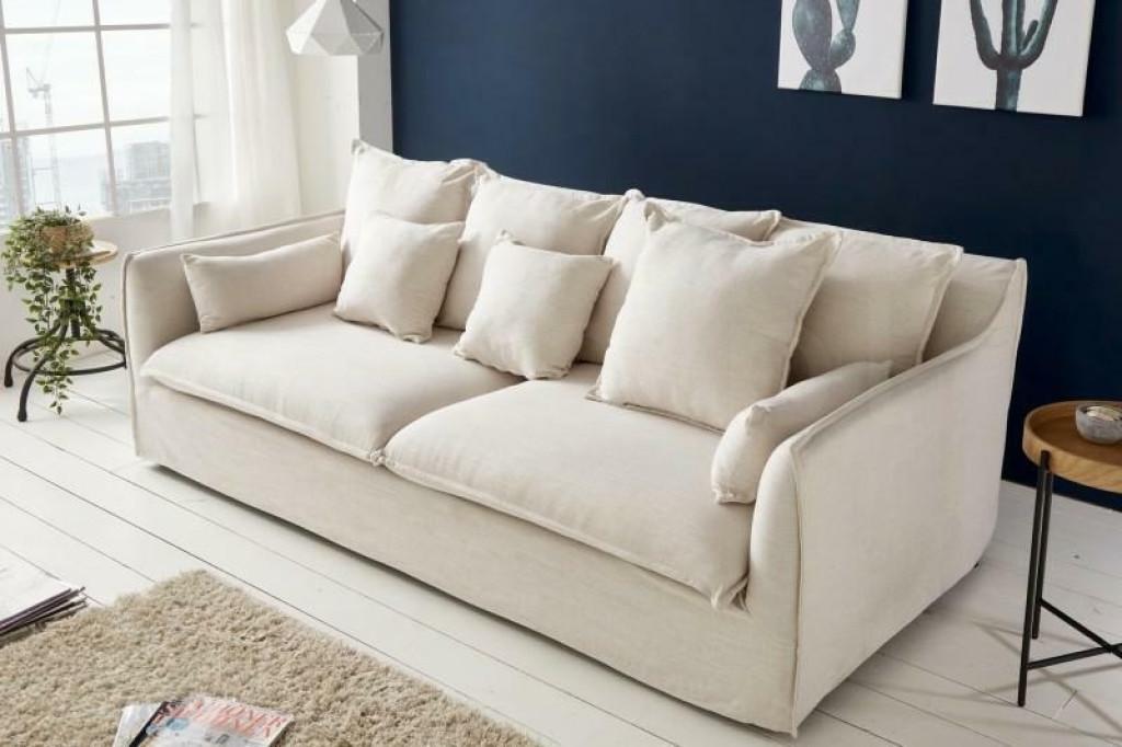 Sofa SVAMP trzyosobowa biała - tkanina