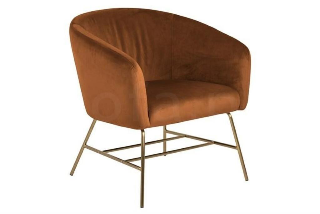 ACTONA fotel RAMSEY  - miedziany, nogi mosiądz