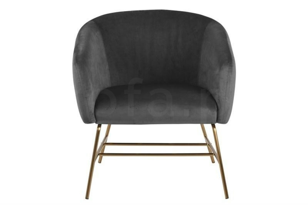 ACTONA fotel RAMSEY  - ciemnoszary, nogi mosiądz