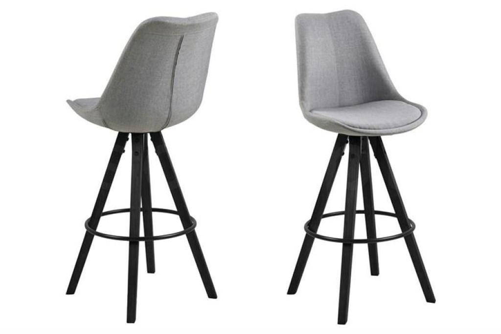 ACTONA stołek barowy tapicerowany DIMA  - jasnoszary, nogi czarne