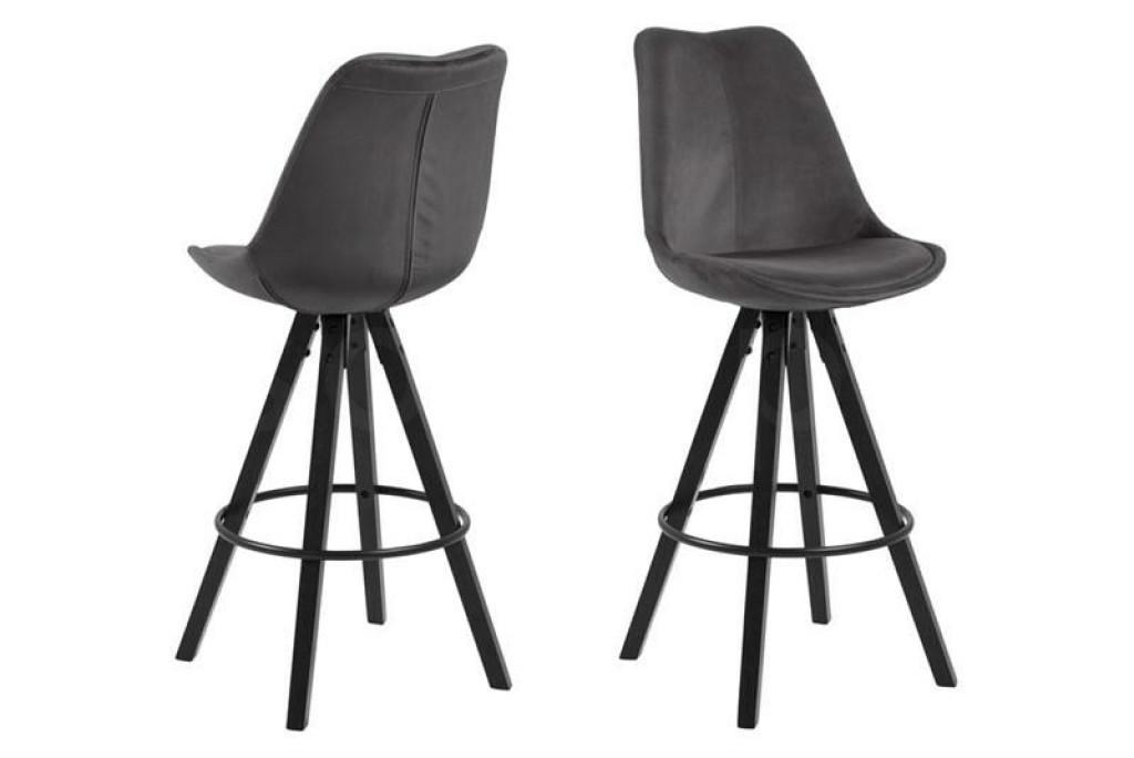 ACTONA stołek barowy tapicerowany DIMA  - ciemnoszary, nogi czarne
