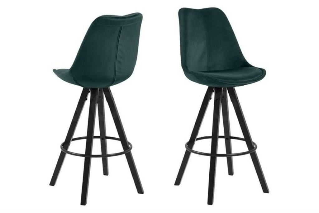 ACTONA stołek barowy tapicerowany DIMA  - butelkowy zielony, nogi czarne