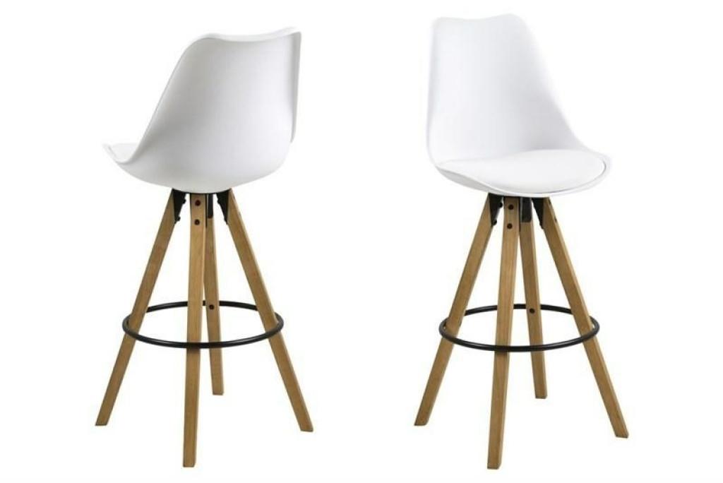 ACTONA stołek barowy ekoskóra/PP DIMA - biały, nogi drewniane