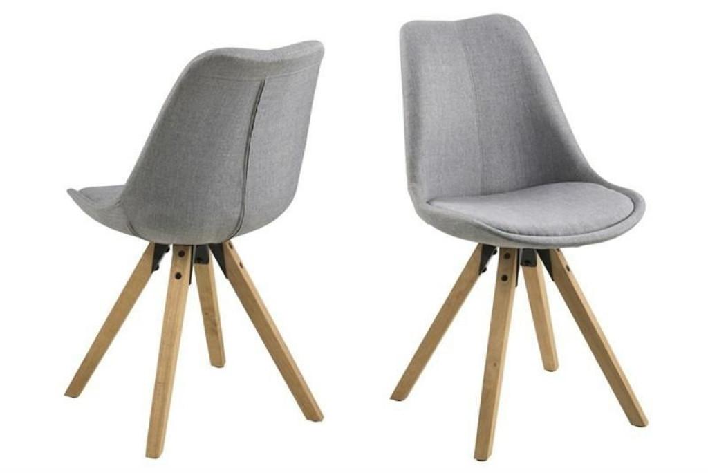 ACTONA krzesło tapicerowane DIMA  - jasnoszary, drewniane nogi
