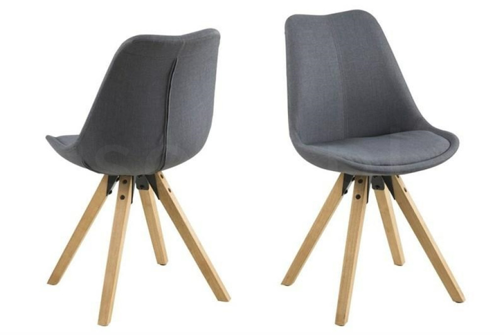 ACTONA krzesło tapicerowane DIMA  - cienoszary, drewniane nogi