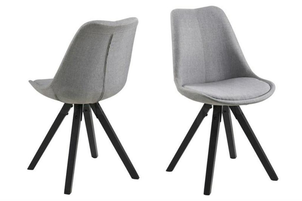 ACTONA krzesło tapicerowane DIMA  - jasnoszary, czarne nogi