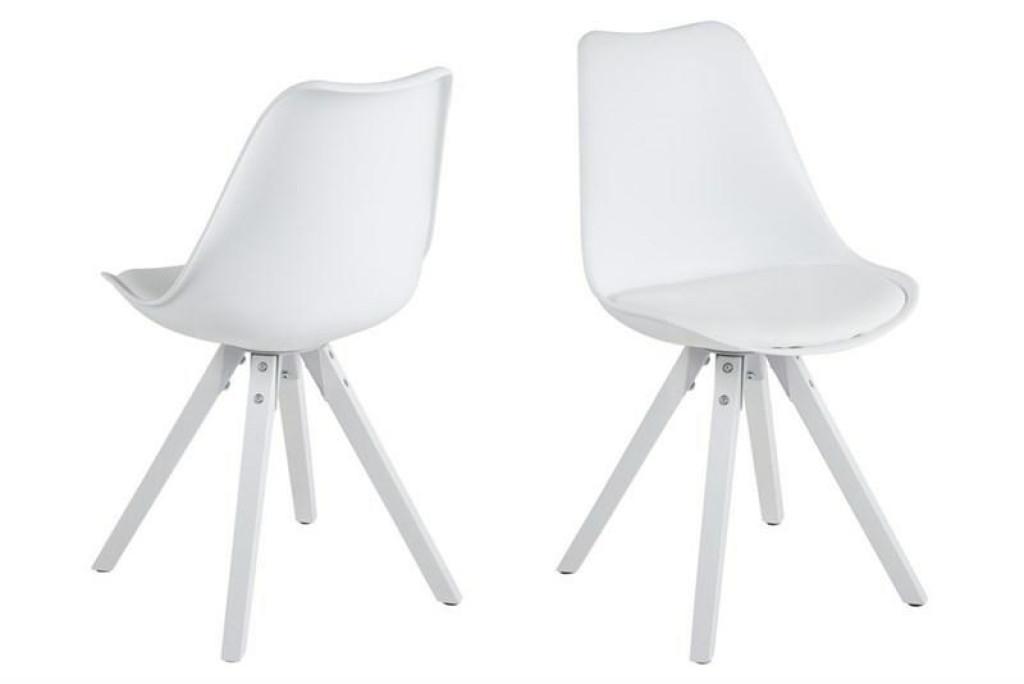ACTONA krzesło ekoskóra/PP DIMA - biały, białe nogi