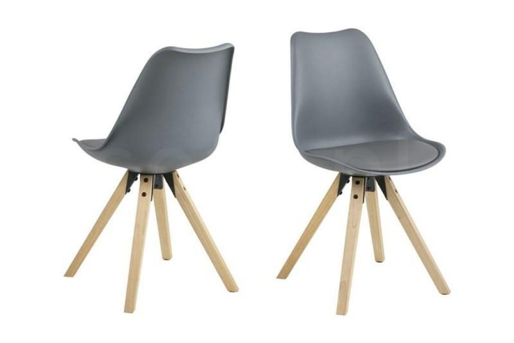 ACTONA krzesło ekoskóra/PP DIMA - szary, drewniane nogi