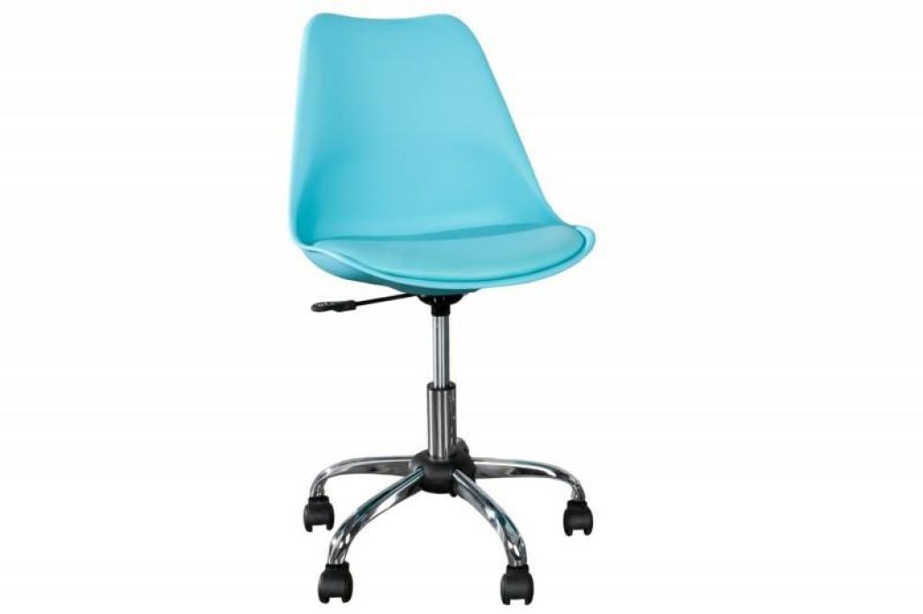 INVICTA fotel biurowy SCANDINAVIA II turkusowy - skóra ekologiczna, chrom