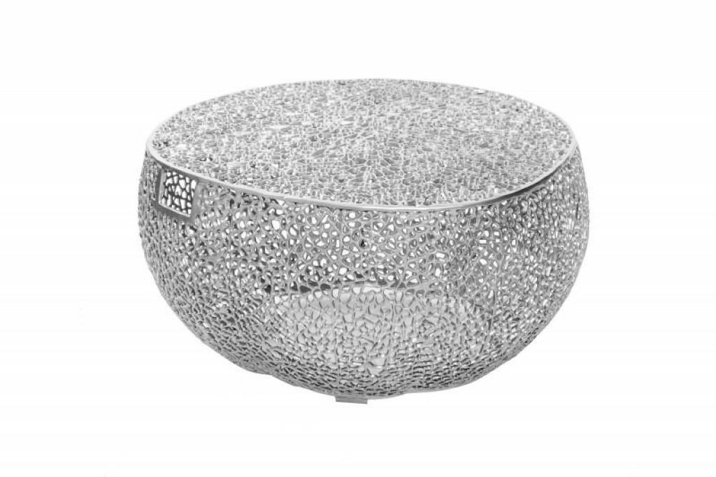 INVICTA stolik kawowy LEAF 80 srebrny - z uchwytami, metal