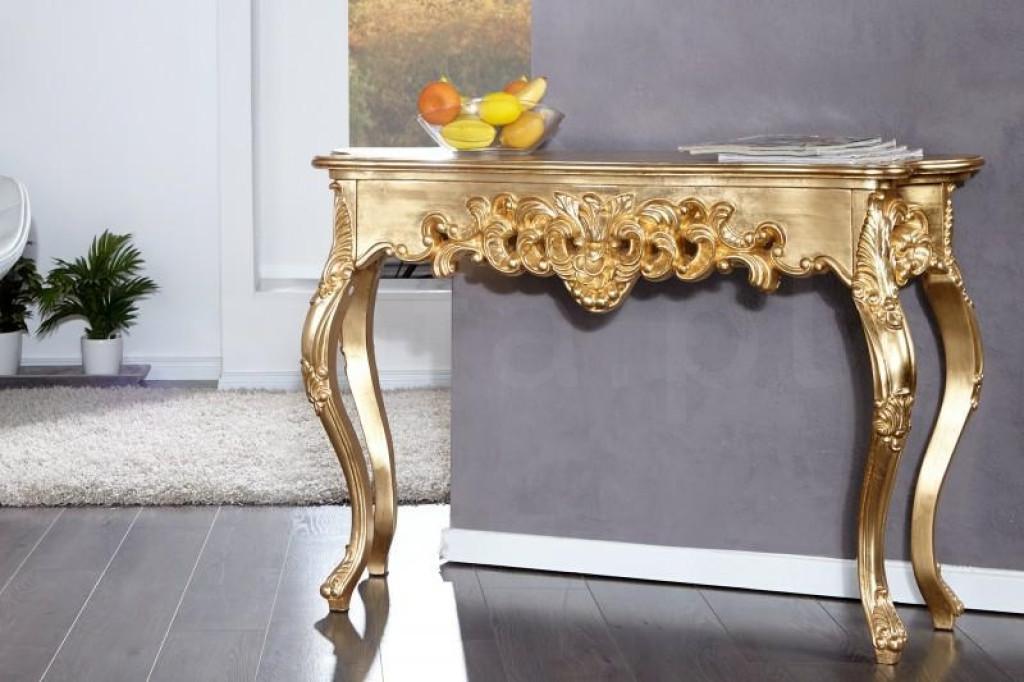 INVICTA konsola VENICE 110 cm złota - drewno