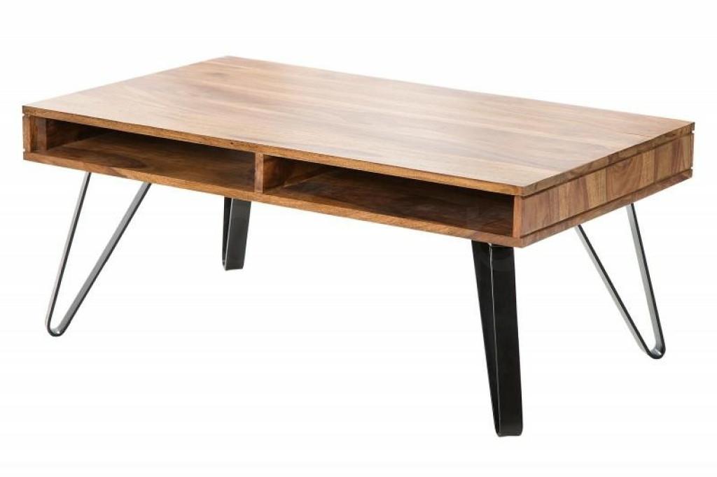 INVICTA stolik kawowy SCORPION 100 cm - sheesham, lite drewno, metal