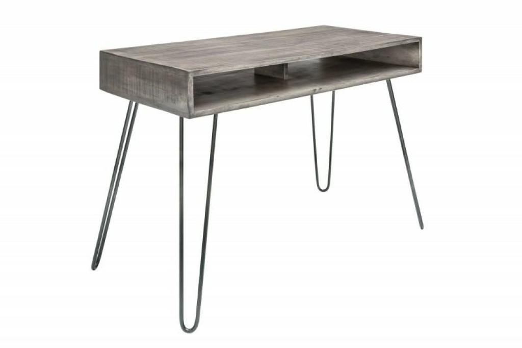 INVICTA biurko SCORPION 100 cm szare  - mango, drewno, metal