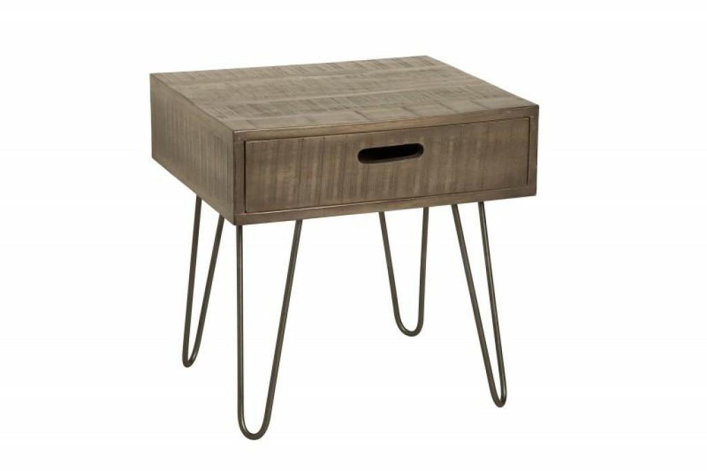 INVICTA stolik SCORPION 50 cm mango - szare, drewno naturalne, żelazo