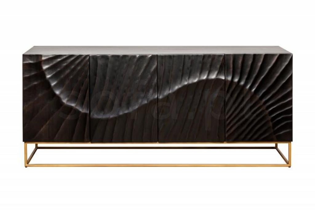 INVICTA komoda SCORPION 177 cm czarna - mango, lite drewno, metal