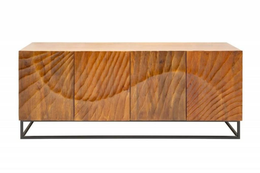 INVICTA komoda SCORPION 177 cm brązowa - mango, lite drewno, metal
