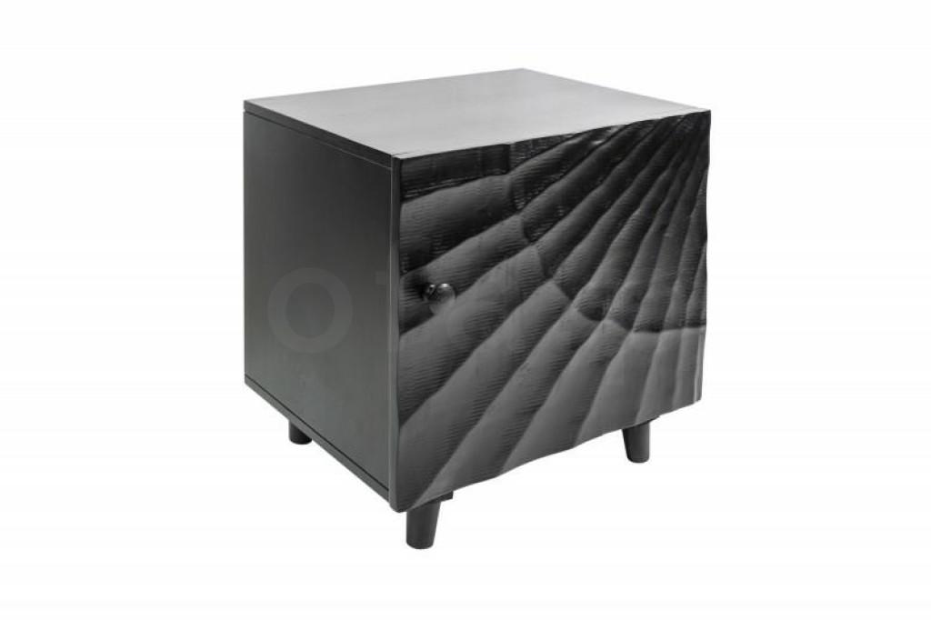 INVICTA stolik nocny SCORPION 50 cm  - czarny, mango, lite drewno, metal