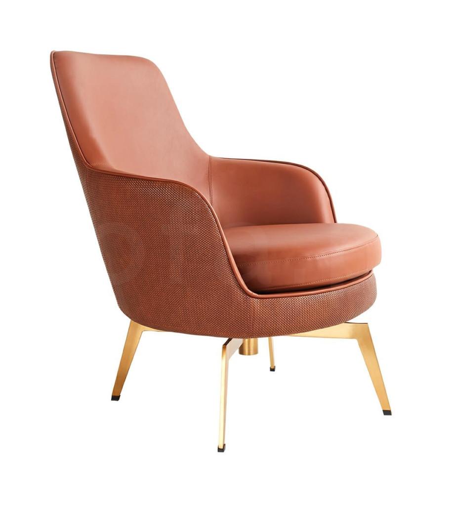 Fotel TORO brązowy - ekoskóra, złota podstawa