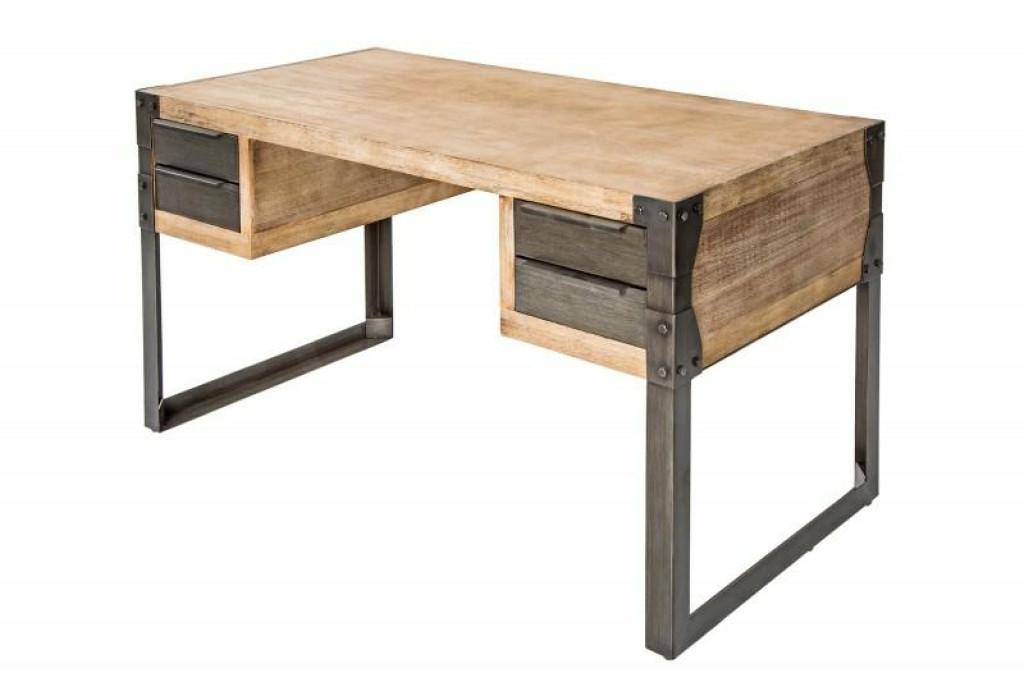 INVICTA biurko FACTORY 135 cm akacja  - teak, szare