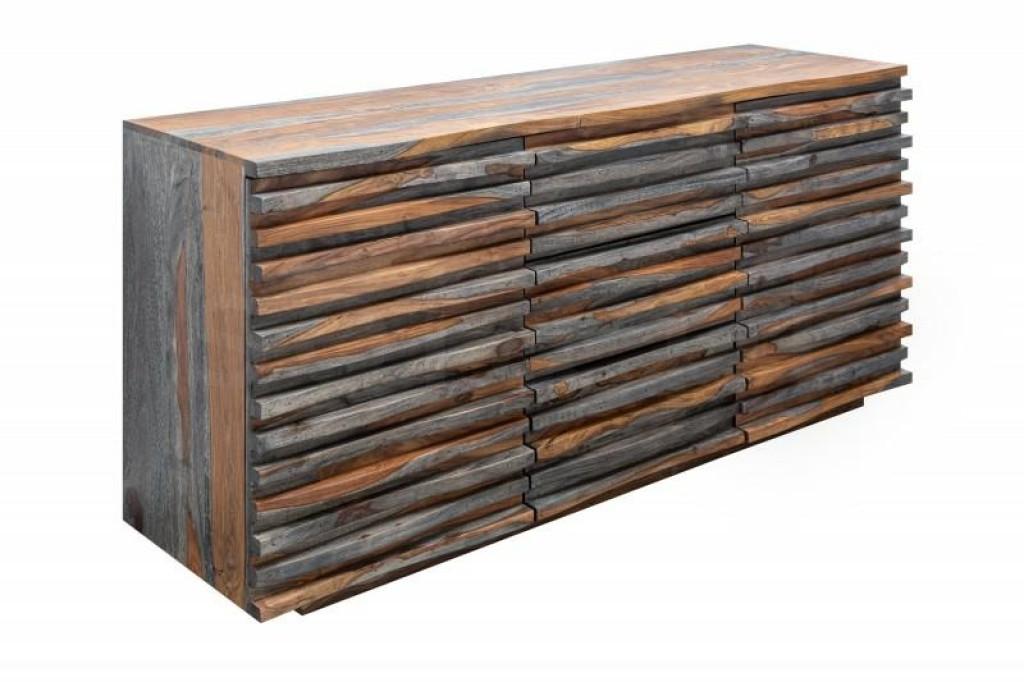 INVICTA komoda RELIEF 160 cm Sheesham - szara, drewno naturalne