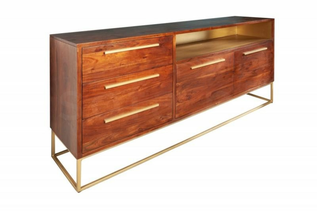 INVICTA komoda STRAIGHT 165 cm Akacja - brązowo złota, drewno naturalne, metal