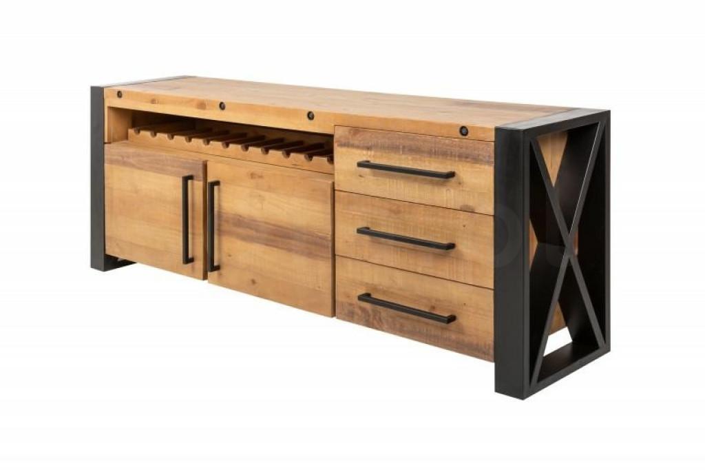 INVICTA komoda THOR 195 cm sosna - drewno naturalne, stal